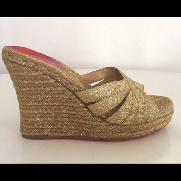 f5da76cebce Christian Louboutin Shoes - CHRISTIAN LOUBOUTIN GOLD WEDGE ESPADRILLES